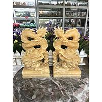 Cặp Rồng đứng phong thủy đá ngọc hoàng long - Cao 20 cm