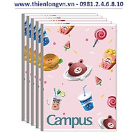Lốc 5 quyển vở kẻ ngang 80 trang B5 Campus mẫu mới NB-BFO2-80 màu hồng