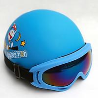 Mũ phượt Doraemon kèm kính X400 viền xanh