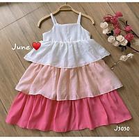 Đầm hai dây 3 tầng trắng phối hồng xinh xắn J U N E