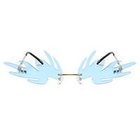 Rimless Fashion Trendy Vintage Flame Sunglasses for Women Men Narrow