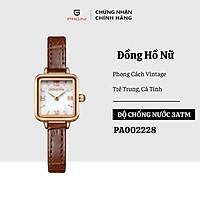 Đồng Hồ Nữ PAGINI Dây Da Mặt Vuông Phối Đá Malachite cao cấp – Phù Hợp Với Các Cô Gái Yêu Thích Phong Cách Vintage - PA002228N