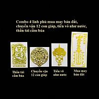 Combo 4 linh phù mua may bán đắt, chuyển vận 12 con giáp, tiền vô như nước, thần tài giữ của, dùng linh phù để dán điện thoại, laptop, xe máy, xe hơi, kích thước 7x3cm, màu vàng - TMT Collection - SP005366