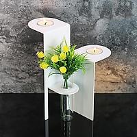 Giá đỡ nến sáp thơm và bình bằng sắt mĩ thuật trang trí phòng khách, nhà hàng OPUS Metalart Design CH-tr02(W) - màu trắng