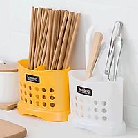 Bộ 2 giỏ nhựa đựng đũa thìa bền đẹp có vách chia (màu trắng) - Hàng nội địa Nhật