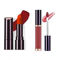 Bộ trang điểm môi VDIVOV son lì Lip Cut Rouge Velvet RD307 RED CUT 3.8g, Son bóng Lip Cut Shine Gloss BRIDE CORAL 5g