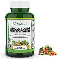 Bio Naturals Whole Foods Multivitamin For Men & Women with 100+ Nutrients – Vitamins A B C D E, Minerals, Herbs, Omega 3, Probiotics, Organic Extracts – No GMOs, No Gluten, 100% Vegan – 90 Count