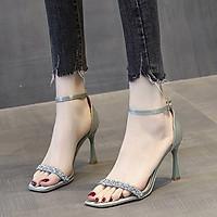 Giày sandal cao gót nữ quai ngang đính đá gót kiểu - Giày nữ gót cao 7cm - Giày cao gót nữ da mềm cao cấp - Linus LN273