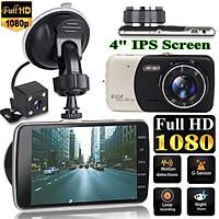 4'' Dual Lens Camera 170° HD 1080P Car DVR Vehicle Video Night Vision G-Sensor Dash Cam Recorder with Microphone/Speaker