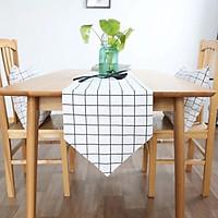 Khăn trải bàn table runner vải bố - Họa tiết Caro trắng - mẫu A04
