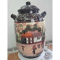 Hũ đựng rượu, gạo vẽ phong cảnh gốm sứ Bát Tràng loại 30L