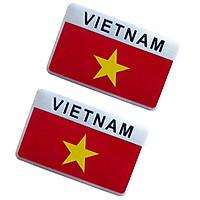 Combo 2 Chiếc Tem Hợp Kim Nhôm Cao Cấp Trang Trí Ô Tô, Xe Máy - Quốc Kỳ Việt Nam