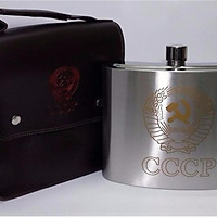 Bình Rượu INOX Logo CCCP Vàng Cao Cấp 2,5L( 88Oz) - Tặng Kèm Phễu INOX và Túi da