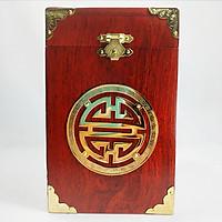 Hộp đựng trà gỗ hương chữ phúc họa tiết bịt đồng khảm hoa văn cổ