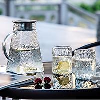 Bộ bình thuỷ tinh chịu nhiệt sần kèm 4 cốc phong cách Bắc Âu