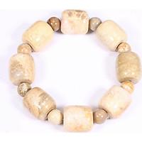 Vòng tay lu thống đá san hô hóa thạch 18x17mm mệnh thủy, kim - Ngọc Quý Gemstones