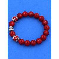 Chuỗi hạt đeo tay Đá San Hô 10 ly - Vòng tay Phật Tổ Như Lai inox bạc - size vừa phù hợp cho nam và nữ