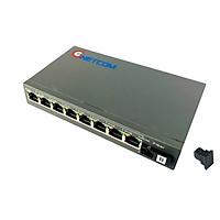 Bộ chuyển đổi quang điện  POE 8xJ45 10/100M kèm cổng  SC 1 sợi GNETCOM GNC-6108FE-25B - Hàng Chính hãng