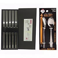 Combo Bộ 5 đôi đũa inox đặc ruột + Set 4 thìa inox uống trà, café cao cấp Nhật Bản