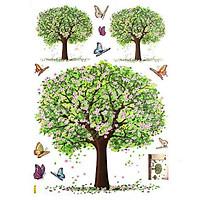 Decal trang trí dán tường 3D hình hoa táo và bướm - 60 x 90 cm