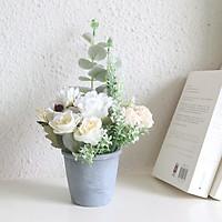 Chậu cây hoa giả gốm xám hoa hồng 10x10x18cm