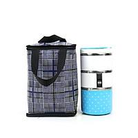 Combo hộp cơm và túi giữ nhiệt kiểu đứng caro xanh đen