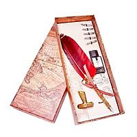 Bút mạ vàng 24k lông vũ màu đỏ  - ANCARAT