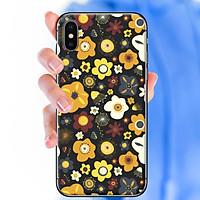 Ốp lưng dành cho iPhone X  mẫu Hoa nhỏ nền đen