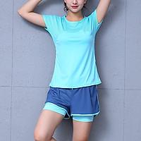 Bộ quần áo tập gym yoga nữ ngắn hàng cao cấp màu xanh