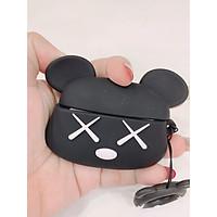 Bao Đựng Tai Nghe Airpods Pro hình bear brick đen siêu ngầu, chất liệu Silicone mềm, có kèm theo móc treo dễ thương, thiết kế mỏng nhẹ, ôm khít tai nghe