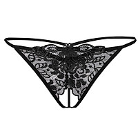Women's Sheer Lace Crotchless Panties G String T Back Thong Underwear