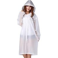 Bancaini outdoor fashion EVA translucent scrub sense of adult raincoats poncho men long section with cap non-disposable raincoat translucent white L