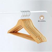 Bộ 10 móc gỗ treo quần áo có thanh ngang - Gỗ thông cao cấp Blazel