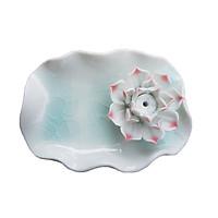 Đĩa đế cắm trầm handmade gắn hoa bằng gốm cao cấp DDT15