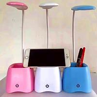 Đèn led để bàn phím bật/tắt cảm ứng, tích hợp khe để điện thoại và hộp đựng bút kèm 3 chế độ sáng (Màu ngẫu nhiên) tặng Bút bi di động mặt cười