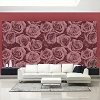 Giấy dán tườnG hàn Quốc họa tiết hoa hồng dạng chữ màuđỏ bordeux
