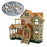Đồ chơi lắp ráp gỗ 3D Mô hình biệt thự Villa Xia Weiyi Full Nội thất Kèm LED trang trí