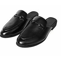 Giày Sục Nam Da Bò Đen Mules Shoes TEFOSS – HT01D