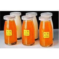 Set 6 chai thủy tinh nắp nhựa đựng nước, sữa hạt, nước ép trái cây 200ml