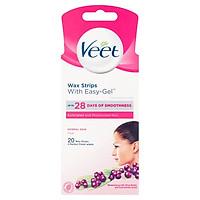 Tẩy lông mặt ria mép, da thường Veet Wax Strips 20 Miếng