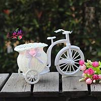 Giỏ hoa xe đạp trang trí 22cm bánh xe di chuyển linh động