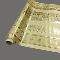 Khăn trải bàn 3d họa tiết nổi màu vàng bằng nhựa không thấm nước - khổ 1,4m