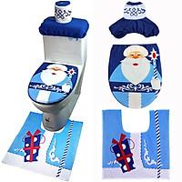 Tailored 3PCS Set Fancy Snowman Toilet Seat Cover and Rug Bathroom Set Christmas Decor