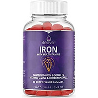 Iron Gummies with Vitamin C & A, Vitamins B Complex, Biotin, Zinc, Multivitamin for Kids and Adults - Helps with Anemia, Boosts Hemoglobin, Improves Brain Functions - 60 Vegan Chewable Gummy Vitamins