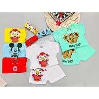 Quần áo trẻ sơ sinh - combo 5 bộ cộc tay bé trai/ bé gái, 100 % cotton size 3-14kg ( sét cộc heo)