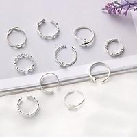 Nhẫn hở mạ bạc S925 nhẫn ngôi sao nhẫn trái tim đan chéo và nhẫn gơn sóng thiết kế nhiều kiểu Hàn Quốc