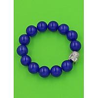 Vòng đeo tay đầu Phật Như lai inox trắng - Chuỗi đeo tay đá thạch anh xanh dương 14 ly VTXDNLT14 - Chuỗi đeo tay đá phong thủy