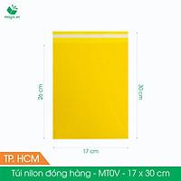 MT0V - 17x30 cm - Túi nilon gói hàng - 300 túi niêm phong đóng hàng màu vàng