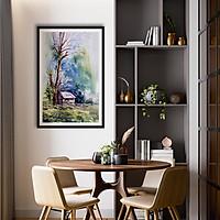 Tranh canvas phong cách màu nước (watercolor) - Nhà nhỏ - WT026