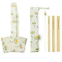 Combo Bộ 3 Ống hút tre, Túi Đựng, Cọ Rửa và Quai Vải Đựng Ly Hoa Cúc